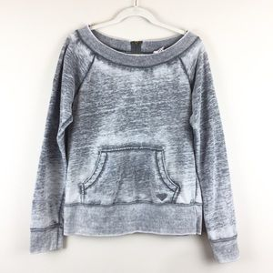 Roxy Gray Distressed Sweater